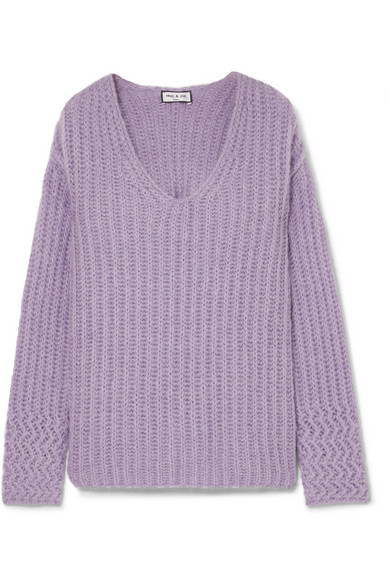 PAUL & JOE Joris Oversized Ribbed-Knit Sweater in Lavender