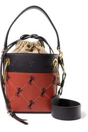 Roy mini studded embroidered leather bucket bag