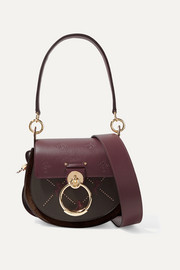 Chloé Tess small studded embroidered leather and suede shoulder bag