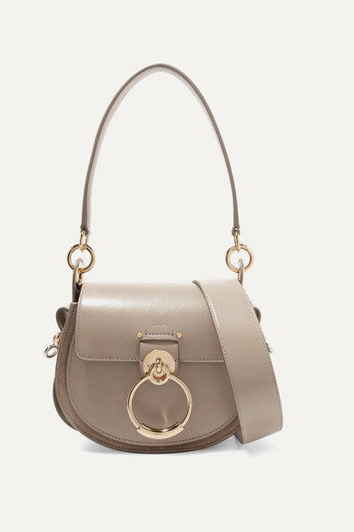 Chloé - Tess Small Leather And Suede Shoulder Bag - Gray