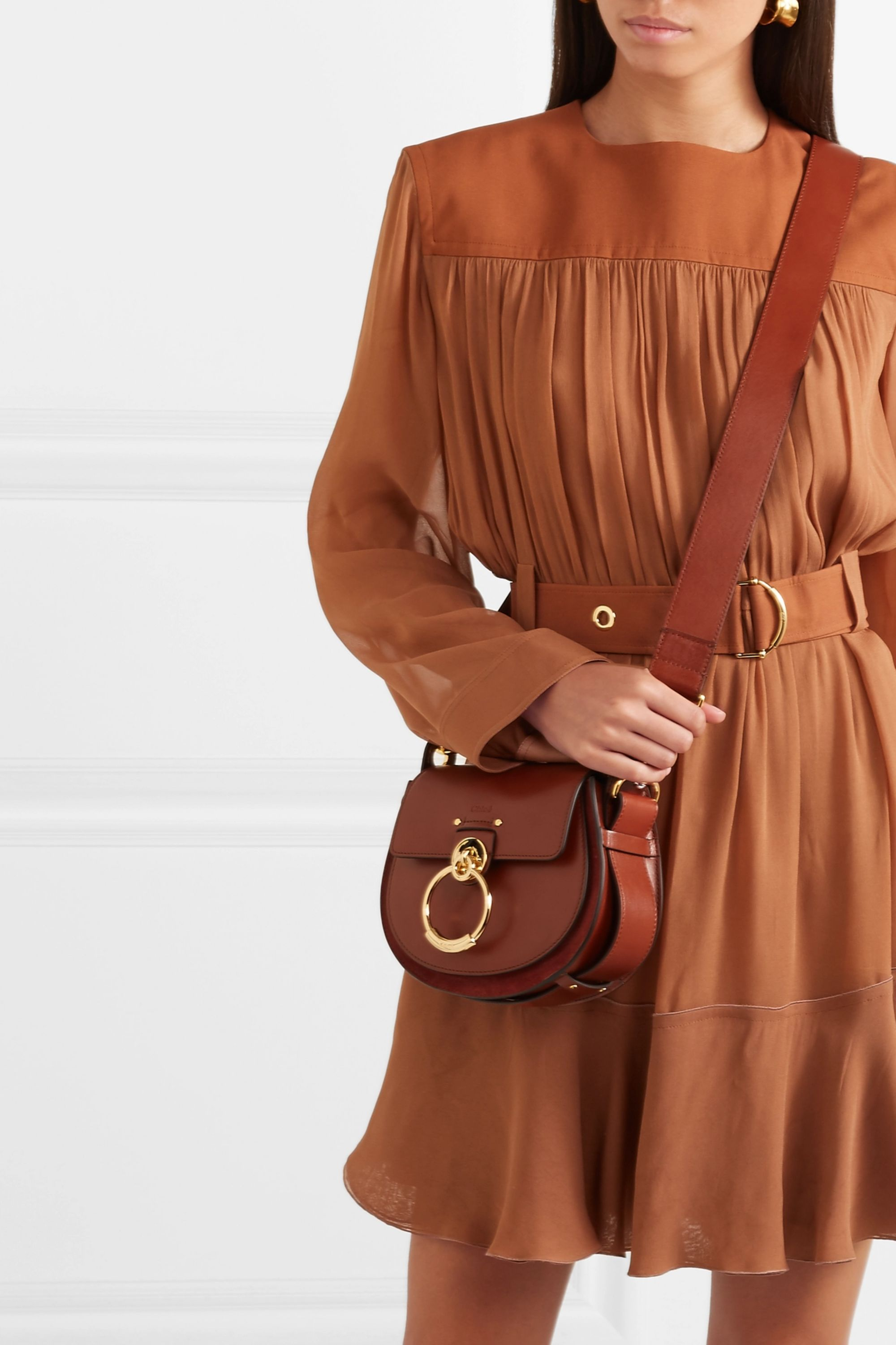 Chloé Tess leather and suede shoulder bag