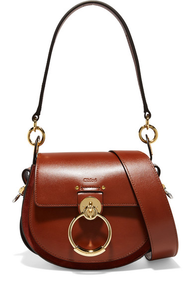 Chloé - Tess Leather And Suede Shoulder Bag - Brown