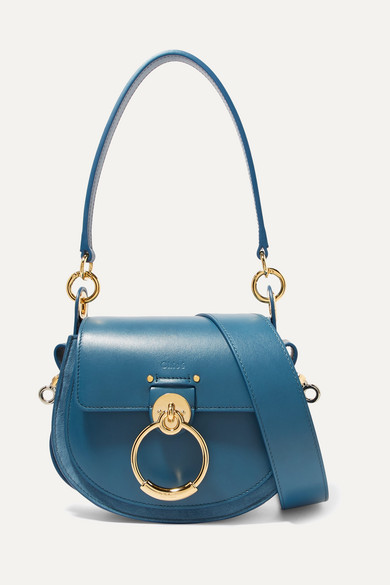 Chloé - Tess Leather And Suede Shoulder Bag - Blue