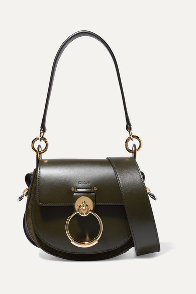 Chloé - Tess Leather And Suede Shoulder Bag - Dark green