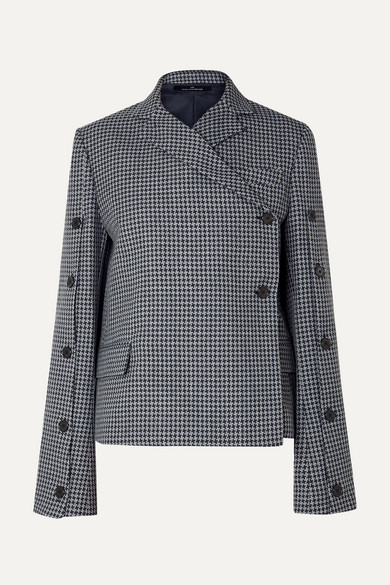Rokh BUTTON-EMBELLISHED HOUNDSTOOTH TWEED BLAZER