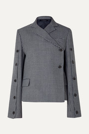 Button-embellished houndstooth tweed blazer