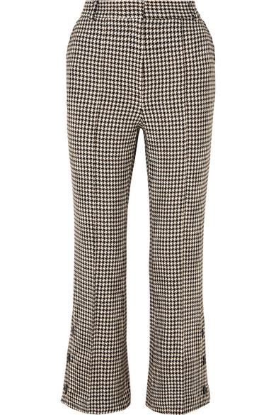 Cropped Houndstooth Tweed Flared Pants in White