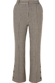 Rokh Cropped houndstooth tweed flared pants