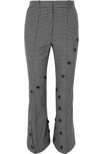 ROKH Button-Embellished Houndstooth Tweed Flared Pants in 35 Herringb