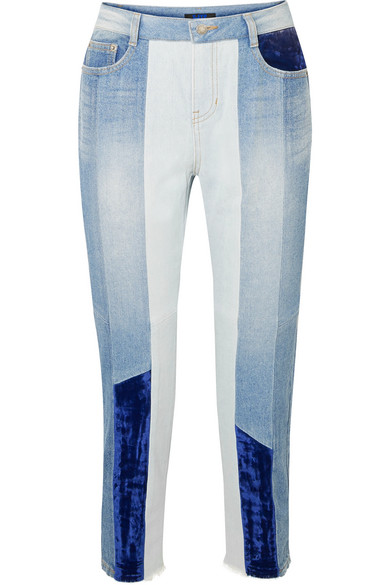 Cropped Velvet-Paneled High-Rise Slim-Leg Jeans in Mid Denim