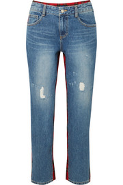 Cropped tartan wool-paneled distressed high-rise straight-leg jeans