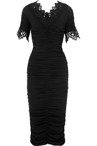 Crocheted Lace-Trimmed Ruched Silk-Blend Georgette Dress in Black