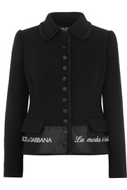 Dolce & Gabbana Embroidered satin-trimmed wool-blend crepe jacket