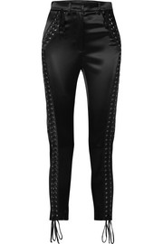 Dolce & Gabbana Lace-up satin straight-leg pants