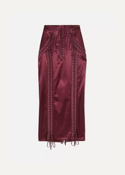 Dolce & Gabbana Lace-up stretch-satin midi skirt