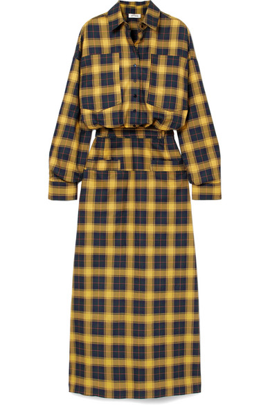 Tartan Cotton Shirt Dress in Yellow