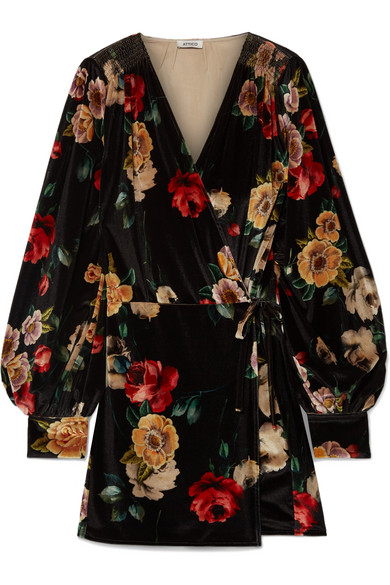 ATTICO FLORAL-PRINT VELVET MINI WRAP DRESS