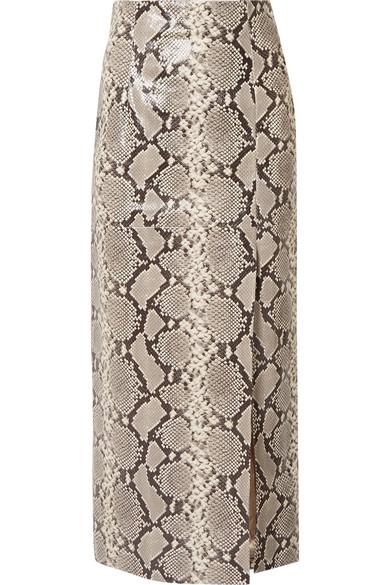 ATTICO Snake-effect leather midi skirt