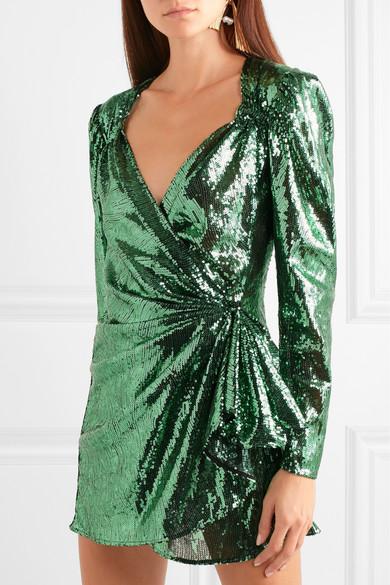 59982c4c4af2 Attico | Sequined mesh wrap mini dress | NET-A-PORTER.COM