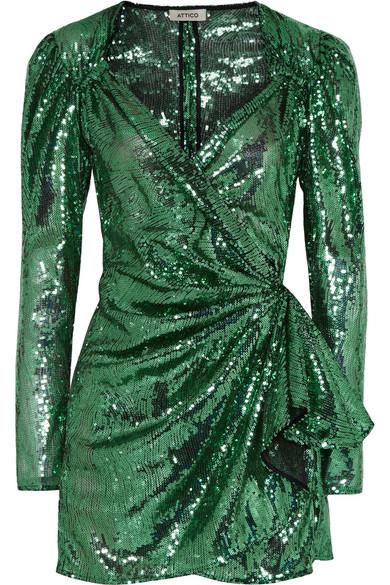 Attico Sequined Mesh Wrap Mini Dress Net A Porter Com