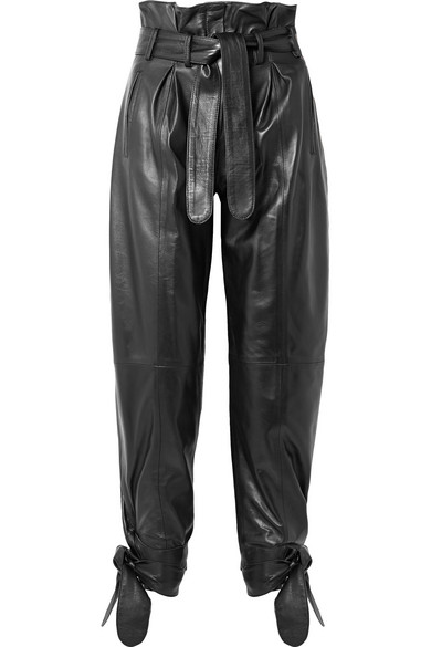 ATTICO Tie-detailed belted leather straight-leg pants