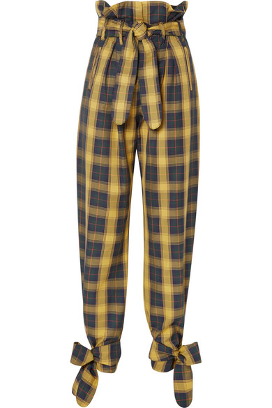 ATTICO Tie-detailed belted checked cotton-twill straight-leg pants