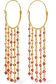 Pippa Small 18-karat gold spinel earrings