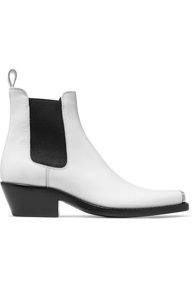 Western Claire Spazzolato Leather Chelsea Boots - White Size 9