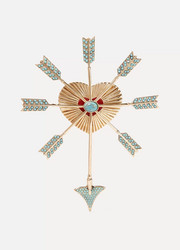 Gold-tone, bead and enamel brooch