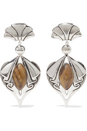 Silver-tone tiger eye clip earrings