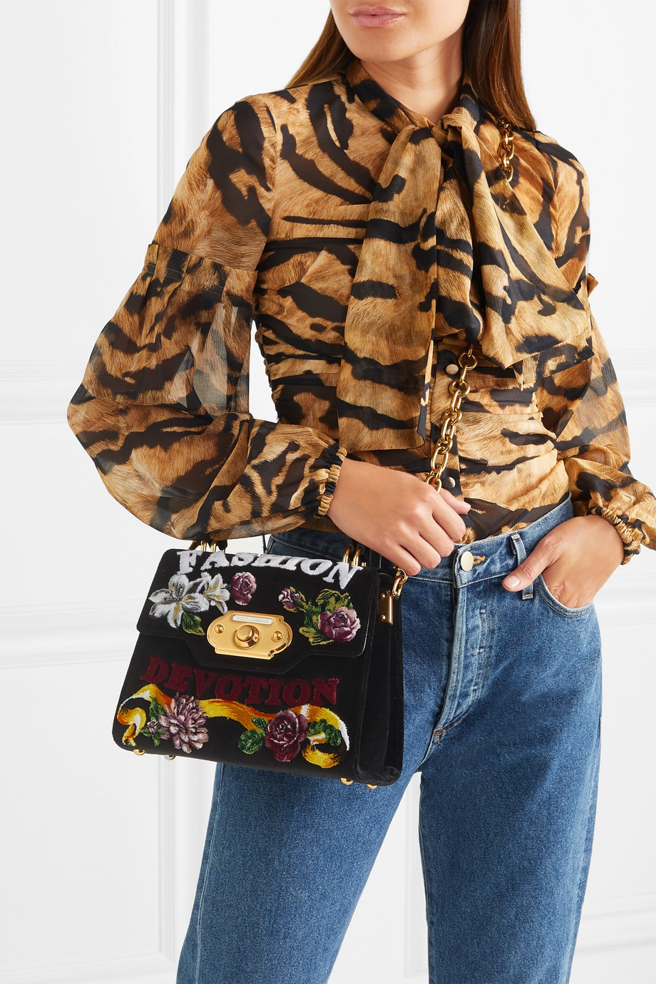 Dolce & Gabbana Welcome medium ayers-trimmed printed velvet tote