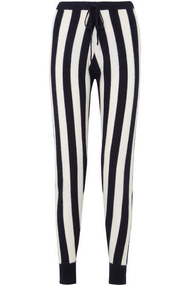 Leonis Striped Cashmere Track Pants in Navy