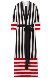 Ophelia belted striped cashmere cardigan