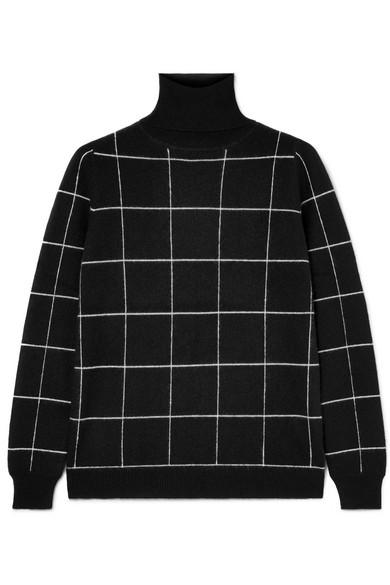 Ida Checked Cashmere Turtleneck Sweater