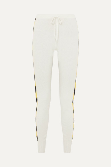 Nix Striped Cashmere Track Pants in Cream