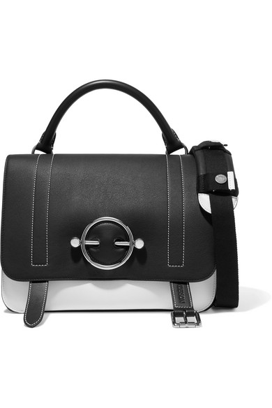 JW Anderson - Disc Two-tone Leather And Suede Shoulder Bag - Black
