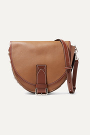 Bike lace-up smooth and textured-leather shoulder bag
