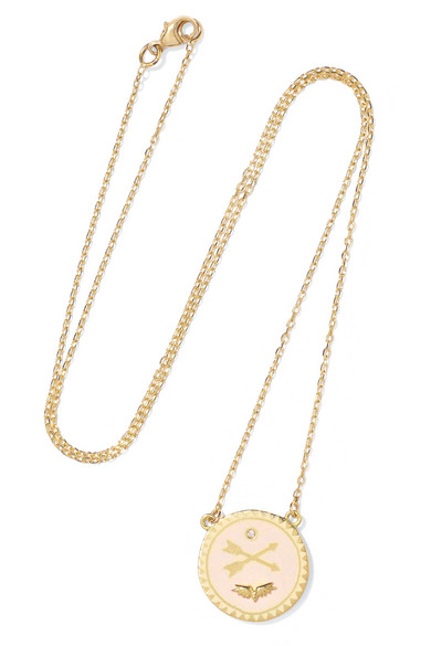 FOUNDRAE PASSION PETITE 18-KARAT GOLD, DIAMOND AND ENAMEL NECKLACE