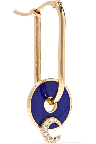 FOUNDRAE CRESCENT 18-KARAT GOLD, DIAMOND AND ENAMEL EARRING