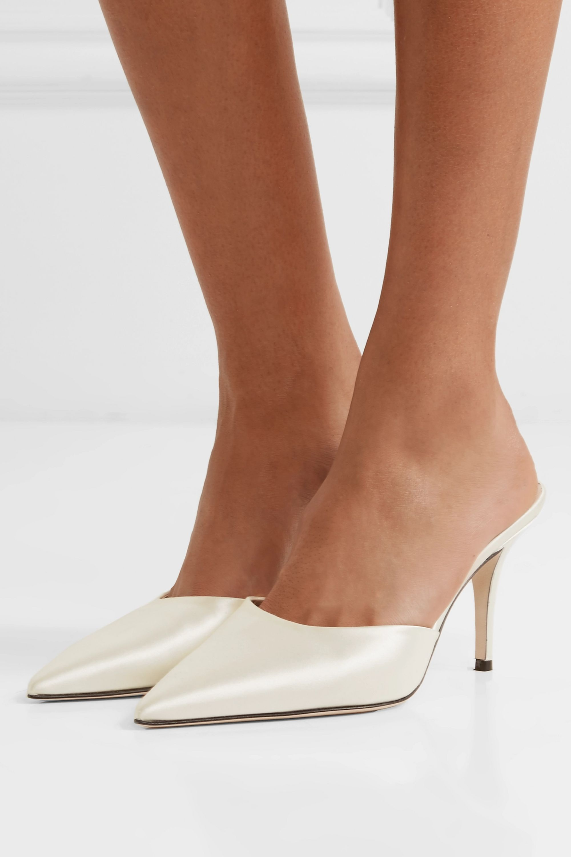 Magda Butrym Embellished silk-satin and leather mules