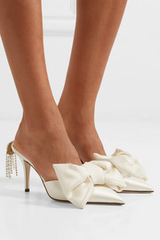 Embellished silk-satin and leather mules