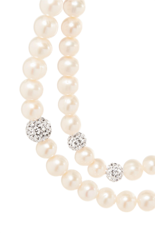Magda Butrym Lily 珍珠、水晶、缎布、镀金项圈式项链