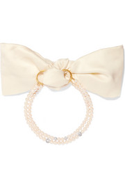 Magda Butrym Lily gold-plated, pearl, crystal and satin choker