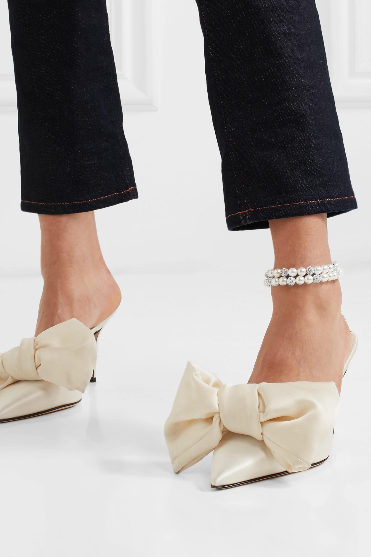 Magda Butrym Set aus zwei Fußkettchen aus Perlen mit silberfarbenen Details und Kristallen