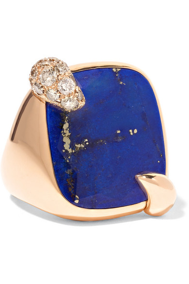 POMELLATO 18-KARAT ROSE GOLD, LAPIS AND DIAMOND RING