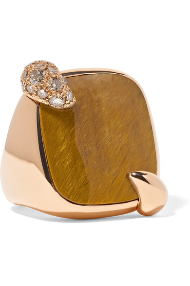 18-Karat Rose Gold, Tiger Eye And Diamond Ring