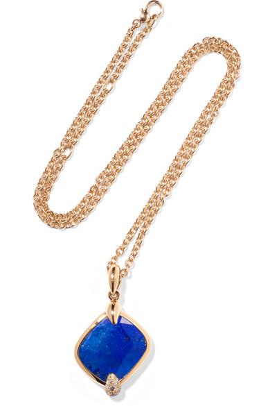 POMELLATO RITRATTO 18-KARAT ROSE GOLD, LAPIS LAZULI AND DIAMOND NECKLACE