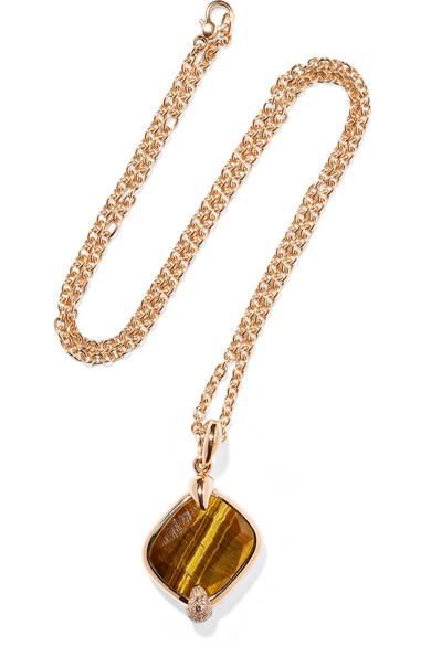 POMELLATO RITRATTO 18-KARAT ROSE GOLD, TIGER EYE AND DIAMOND NECKLACE