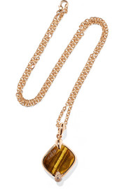 Ritratto 18-karat rose gold, tiger eye and diamond necklace
