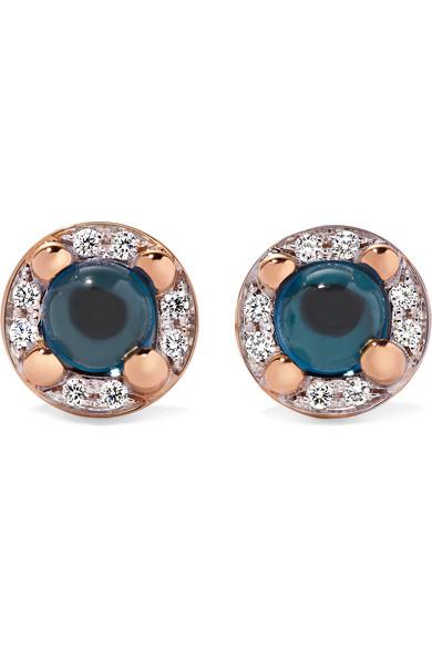 Pomellato - M'ama Non M'ama 18-karat Rose Gold, Topaz And Diamond Earrings
